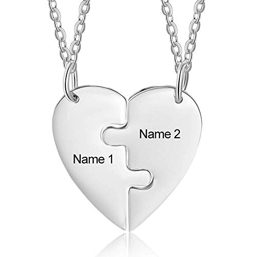 Personalized Heart Bff Necklace for 2 Girls Sister Necklace Friendship...
