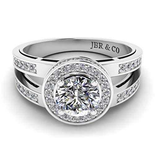 Jbr Anillo de plata de ley con halo de vástago dividido y diamante de corte redondo, anillo de compromiso de aniversario para ella con caja de joyería