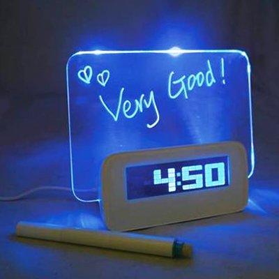 Tablón de anuncios Alarma CCI multifunción LCD Digital termómetro del reloj + 4 puertos USB HUB y consejos + con azul o luz de fondo LCD verde (blanco) escritorio magnética portátil pequeña pizarra