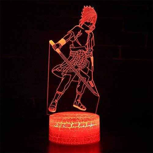 Uchiha Sasuke (Naruto), Veilleuse Illusion d'optique LED/Veilleuse 3D, 7 couleurs, Artisanat idéal décoratif créatif, Crack Base, Touche/télécommande, Câble USB