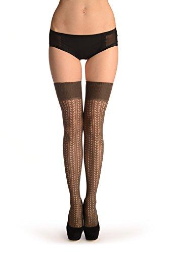 Grey Burlesque Stripes Crochet Lace With Elasticated Top - Grau Halterlose Strümpfe Einheitsgroesse (34-42)