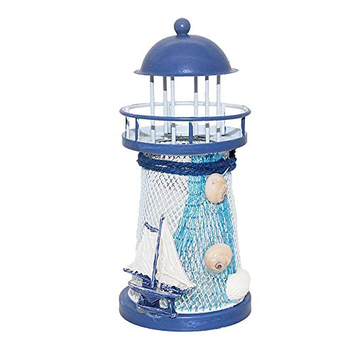 Xiton 1PC LED-Eisen-Leuchtturm Licht Segelschiff-Muster Flameless Teelicht Farbwechsel Nachtlicht Mittelmeer Kerzenlampe