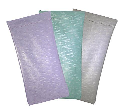 3 Pack Glossy Pixels Spring Top Eyeglass Case For Men & Women, Purple/Seafoam Green/Silver