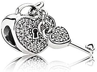 Pandora Women's Sterling Silver Padlock of Love And Key Charm - 791429CZ