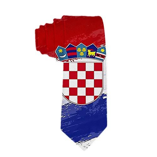 Klassische Männer Krawatte Hals Krawatte Polyester Seide Krawatte Gewebte Krawatte Kroatien Flagge Rot Blau Weiß Hals Krawatten für Hochzeiten, Bräutigam, Trauzeugen, Missionen, Tänze, Geschenke