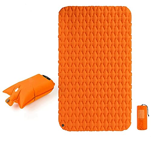 KJGHJ Almohadilla de dormir inflable con bolsa de aire, colchoneta ultraligera portátil impermeable (color doble Ora y bolsa)