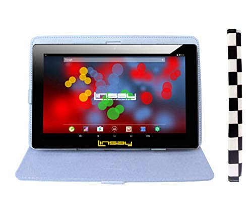 """LINSAY 10.1"""" 1280x800 IPS Screen Quad Core Tablet 16GB with White and Black Squares Leather Case"""