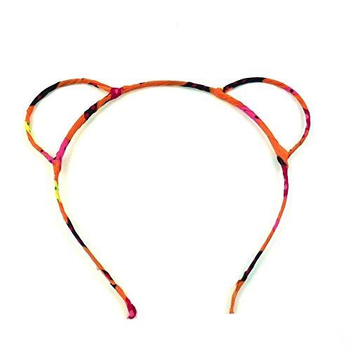 rougecaramel - Accessoires cheveux - Serre tête oreille d'ours - orange multicolore