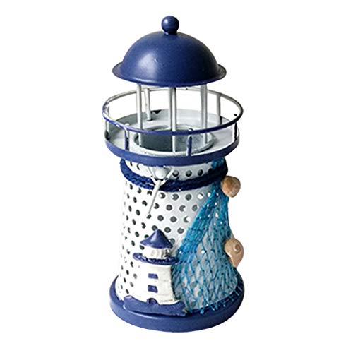 Gaoqi Decoration & Hangs, Mediterranean Lighthouse Iron Candle Candlestick Blue White Home Table Decor Easter and Eid Onsale