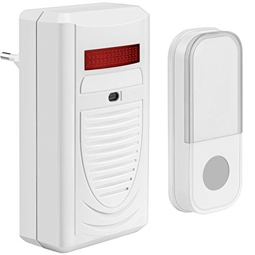 Mumbi deurbel draadloze deurbel - Plug in voor het stopcontact + knipperlicht/tot 40 meter bereik.