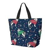 FJJLOVE Bolso de hombro Alaskan Malamute Suéter de Navidad Perro Lindo Perro Vacaciones Bolso de gran capacidad Bolso de mano ligero Bolso de playa de viaje para mujeres