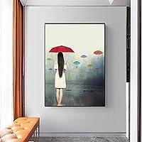 DIHEFA雨の中の傘を持つ美しい女性キャンバス絵画ポスターリビングルームの家の装飾のための壁の芸術を印刷する装飾絵画 35x45cm-フレームなし