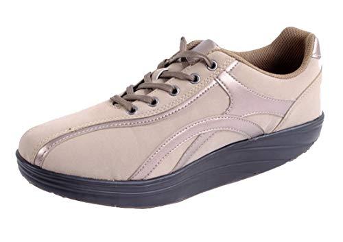Dynamic24 Damen Aktiv Outdoor Schuhe mit Rundsohle Fitnessschuhe Sneaker Gesundheitsschuhe Aktivschuhe Gondelschuhe Freizeitschuhe beige Gr. 38