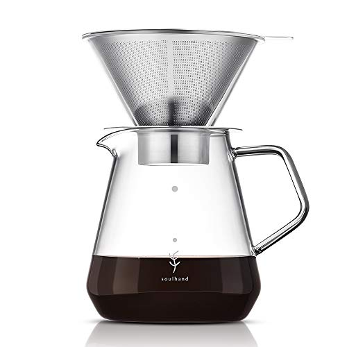 Soulhand Pour Over Coffee Brewer Pour Over Coffee Dripper 8 Cups Coffee Maker with Separable Paperless Coffee Filter with Glass -Bouns Coffee Scoop and Brush Large Capacity Brewer 28oz