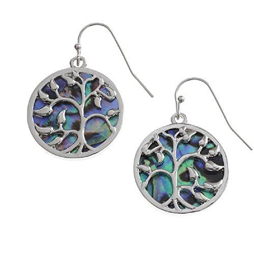 Paua Abalone rigida Tree of Life-Orecchini in argento, 23 mm, colore: verde acqua lucido con tonalità naturale Paua, gioielli da BellaMira, in confezione regalo