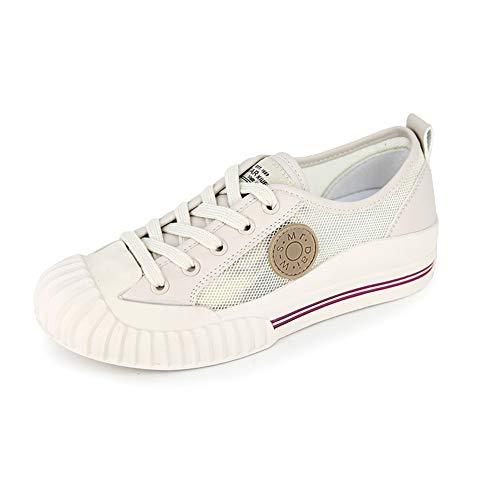 Zapatos De Lona De Las Mujeres De Malla Transpirable Zapatillas De Deporte del Top Alpargatas Casual Zapatos Planos A Pie Ata para Arriba Los Blancos