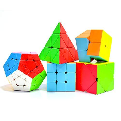 TOYESS Cubo Mágico Puzzle Pack,Pyraminx Piramide,Megaminx Dodecaedron,Skewb Cube,3x3x3,2x2x2 Cubo de Velocidad Rompecabezas Cajas de Regalo Set para Adulto Niños,Stickerless