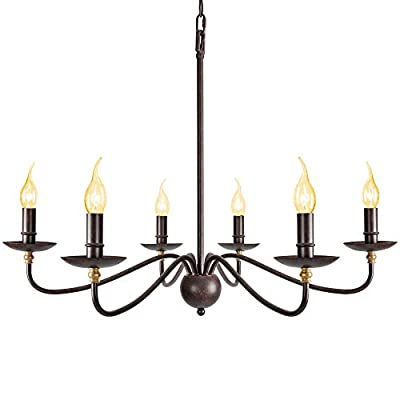 Rustic Chandelier for Dinning Room, Clear Crystal Beads Farmhouse Candle Chandelier,4-Light Rustic Wrought Iron Light Fixtures for Dinning Living Room Bedroom,4 x E12 Candelabra Socket Base