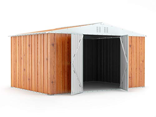 Notek Srl Box in Acciaio Zincato Casetta da Giardino in Lamiera 4.03 x 2.69 m x h2.17 m - 149 kg – 10.84 Metri Quadri (Finitura Legno)