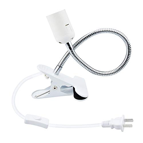 Bonlux Flexible Aluminum Wire Neck Clip Holder E26 Base Light Socket with On/Off Switch US Plug, Adjustable Light Stand Clamp Lamp Fixture for Reptiles Desk Lamp Grow Aquarium Light (Max Bulb: 100W)