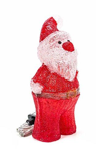 Acryl Weihnachtsfigur beleuchtet, Indoor/Outdoor geeignet, 230V, lieferbar als Weihnachtsmann 40 LEDs, Höhe ca. 34 cm oder Weihnachtspaar 60 LEDs, Höhe ca. 37 cm (Rot (Weihnachtsmann))