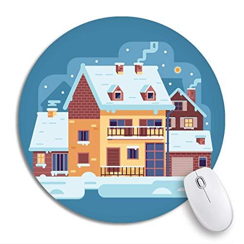 Rundes Mauspad Schneeszene Land Winterhaus Rauchen Schornstein auf Dorf rutschfeste Gummibasis Mausmatte Gaming Mousepad für Computer