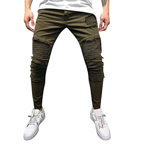 Aiserkly Herren Plissee Pocket Straight Tapered Jeans Hose Cargohose Chino Hosen Freizeithose Arbeitshose M