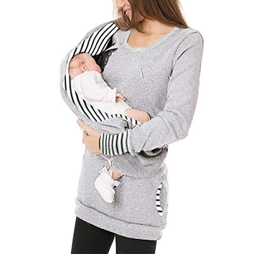 Sweat Grossesse d'allaitement,SANFASHION Sweat-Shirt Maternité Col roulé Pull de Sept Manches Longue,Tops Blouse Shirt Imprime Mode