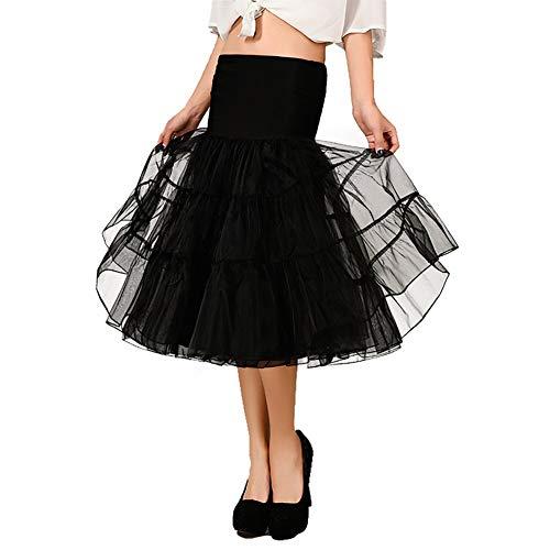 OCTOPUSIR Faldas de gasa para mujer, con volantes hasta la rodilla, Crinoline de los años 50, estilo retro, vintage, para dama de honor, fiesta, tutú y media resbalones, rockabilly Swing