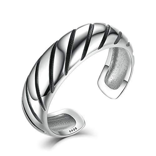 JIARU Anillo de plata de ley 925 para mujer, anillo ajustable, anillo simple y versión amplia y generosos anillos retro para niña abierto anillo de dedo regalo