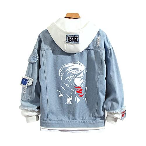 QJN Chaqueta de mezclilla gigante Attack, suéter azul de anime, suéter con capucha con estampado de Mikasa blanco, suéter deportivo casual de moda L