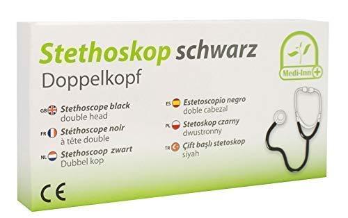 Medi-Inn Doppelkopf Stethoskop | nickelfrei | deutliche Geräuschübertragung | flexibler Y-Schlauch mit doppelköpfigem Bruststück | schwarz