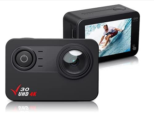 Action Cam 4K 30FPS wasserdichte Kamera WiFi EIS Stabilisierung, 2\'\' Touchscreen,100FT Wasserdichter Unterwasser-Camcoder,PC-Webcam,170° Weitwinkel,1350mAh Batterien und Montagezubehör Kit