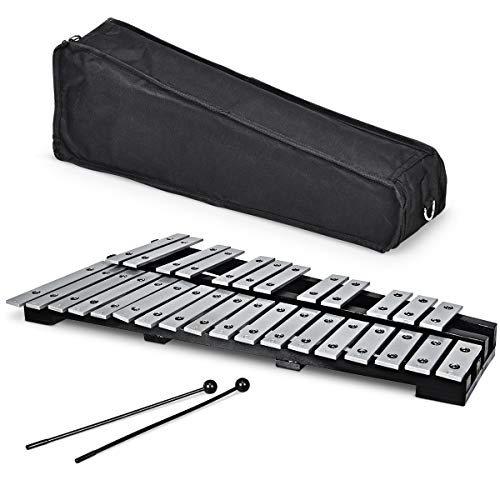Giantex Foldable Glockenspiel Xylophone 30 Note, with Wood Base and 30 Metal Keys, 2 Rubber Mallets, Carrying Bag, Professional Glockenspiel Xylophone Percussion Instrument for Adults and Kids