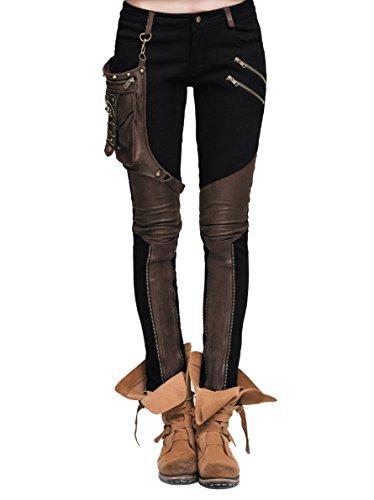 Devil Fashion Steampunk Damen Hose Mit Eins Leder Tasche Gothic Bleistift Hosen Weinlese Stitching Leggings (M, Schwarz und braun)