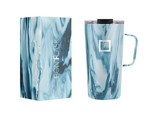 IRON °FLASK Taza de café con Agarre - 16 oz, a Prueba de Fugas, Botella de Acero Inoxidable aislada al vacío, Moderna Pared Doble, Termo Simple Viaje CM_16 Ocean