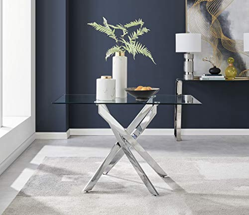 Leonardo 4 Clear Glass And Chrome Metal Modern/Stylish Dining Table And 4 Lorenzo Dining Chairs Set (Dining Table Only)