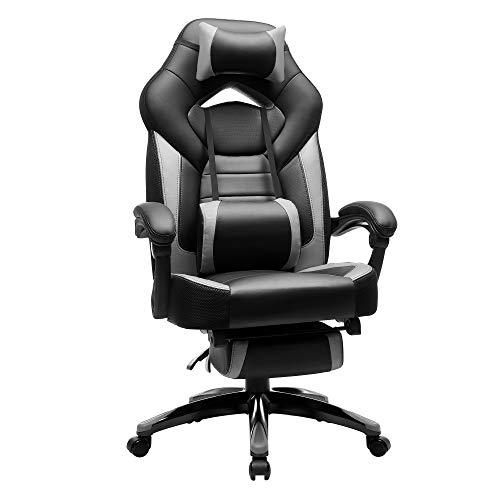 SONGMICS Gamingstuhl, Bürostuhl mit Fußstütze, Schreibtischstuhl, ergonomisches Design, verstellbare Kopfstütze, Lendenstütze, bis zu 150 kg belastbar, Schwarz-Grau, OBG77BG