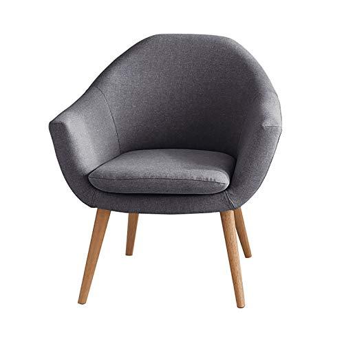 COLU Single Leisure Armchair, Balkon Sofa Stuhl Kann Entfernt Und Gewaschen Werden High Rebound Seat Baumwolle Und Leinen Rücken Stuhl Brown 0410S(Color:Dunkelgrau)