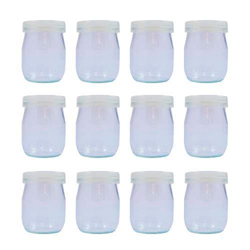 Vasos yogurtera de cristal con tapa pack de 12 botes para yo
