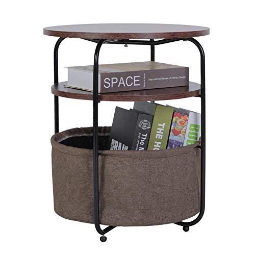 Greensen Mesas auxiliares redondas, mesa auxiliar con cestas, mesa auxiliar de 3 niveles con cesta de almacenamiento, mesa auxiliar redonda de café, mesa auxiliar moderna para sala de estar