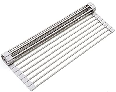 Surpahs Over the Sink Multipurpose Roll-Up Dish Drying Rack (Warm Gray, Large) from Surpahs