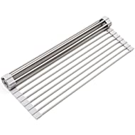 """Surpahs Over The Sink Multipurpose Roll-Up Dish Drying Rack (Warm Gray, Large - 20.5"""" x 13.1"""")"""