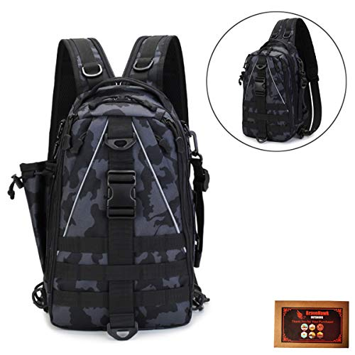 BraveHawk OUTDOORS Tactical Sling Pack Backpack, 800D Military Nylon Oxford Water Resistant MOLLE Utility Two Shoulder Backpack EDC Crossbody Bag Outdoor Daypack Organizer (Medium)