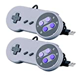 CC&SS 2 Packs USB Controller for Classic Super Nintendo NES SNES, USB Famicom Controller Joypad Gamepad for Laptop Computer Windows PC/MAC/Raspberry Pi