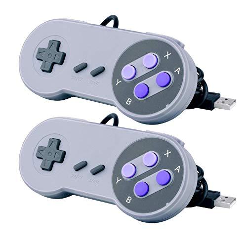 CC&SS 2 Packs USB Controller for Classic Super Nintendo NES SNES, USB Famicom Controller Joypad Gamepad for Laptop Computer Windows PC/MAC/Raspberry Pi