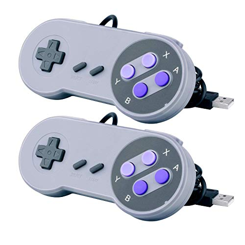 2 Packs USB Controller for Classic Super Nintendo NES SNES, USB Famicom Controller Joypad Gamepad for Laptop Computer Windows PC / MAC / Raspberry Pi (Black)
