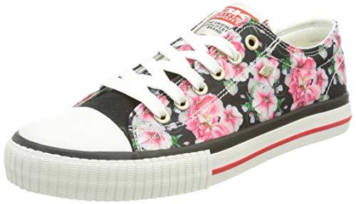 British Knights Master LO, Zapatillas Mujer, Diseño de Flores, Color Negro, 39 EU