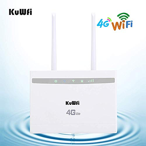 KuWFi 4G LTE CPE Enrutador de Tarjeta SIM, 300Mbps inalámbrico o 150Mbps 4G LTE Punto de Acceso de Alta Velocidad WiFi Repetidor Extensor Puente CPE Router