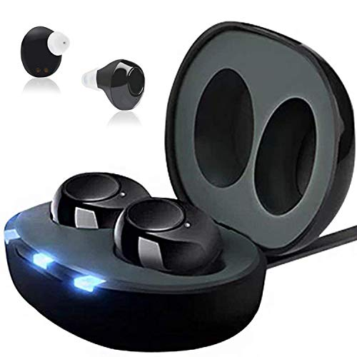 Mini Sound Amplifiers Aids | Set of 2 with Portable Charging Case Upgrade Rechargeable Stylish 300mah Clear Sound Adjustable Volume Looks Like Earbuds 18